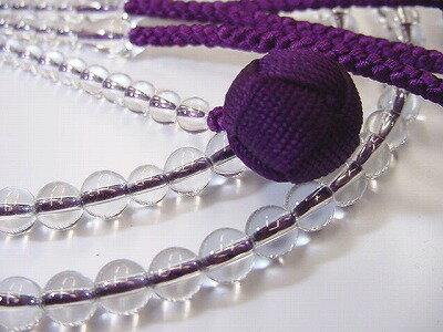 数珠・念珠/総水晶(透明)尺2紫紺色利休房【日蓮宗・法華宗用本連(正式)数珠】