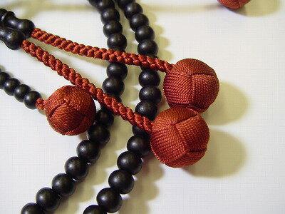 日蓮宗用本連(正式)数珠総素挽き黒檀尺茶色利休房