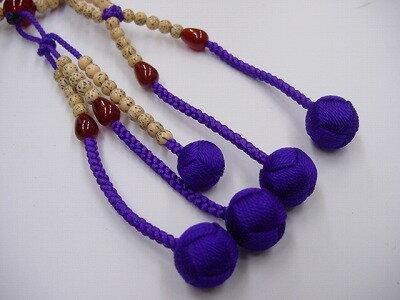 数珠日蓮宗用星月菩提樹8寸紫色利休房瑪瑙(メノウ)いり