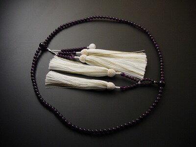 数珠日蓮宗用総紫水晶(上)尺3正絹装束8匁房白利休房付