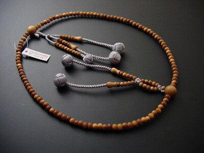 日蓮宗用本連(正式)数珠総白檀8寸グレー利休房