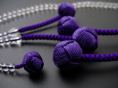 日蓮宗用本連数珠総水晶8寸紫利休房