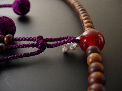 日蓮宗用本連数珠栴檀尺紫紺色利休房瑪瑙(メノウ)入り