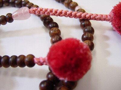 日蓮宗用本連数珠栴檀8寸なでしこ色菊房ローズクォーツ入