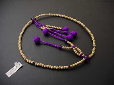 数珠日蓮宗用星月菩提樹8寸紫色利休房紫水晶いり