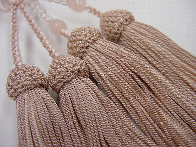 数珠浄土真宗用8寸水晶ローズクオーツ入り正絹房
