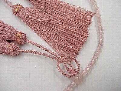 数珠浄土真宗用総紅水晶8寸灰桜色正絹房