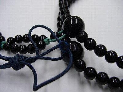 数珠浄土真宗布教用尺二黒オニキス正絹紐房