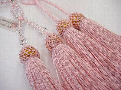 浄土真宗用本連数珠総水晶8寸ピンク正絹頭付き房