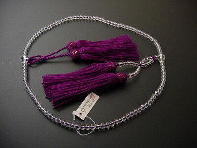 浄土真宗用本連数珠総水晶8寸紫紺正絹頭付き房