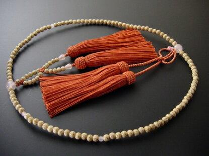 浄土真宗用本連(正式)数珠星月菩提樹8寸ローズクオーツ入り正絹房30番