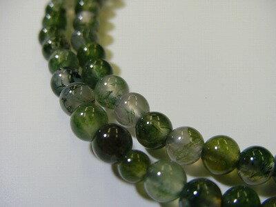 数珠浄土真宗用総青苔メノウ8寸正絹房