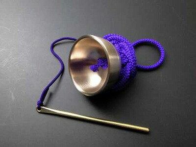 りん/超小型さはり印金(袖印金)紫紐(携帯用のお輪)正絹組紐付き