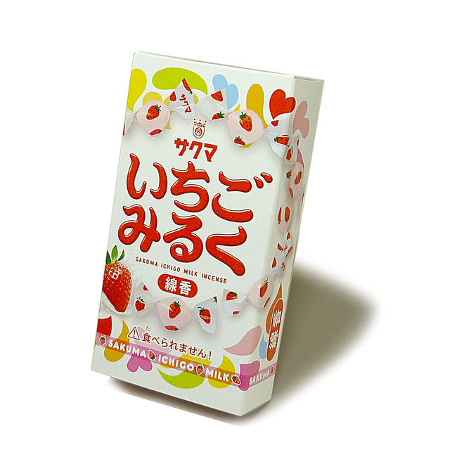 【お線香】サクマ「いちごみるく」の香りのお線香【カメヤマ製線香】いちごの香り 甘い香り 甘いお線香 子供