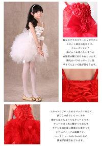 ab83dc502e422 楽天市場 子供ドレス 発表会 ホワイト レッド ふわふわスカートにバラの ...