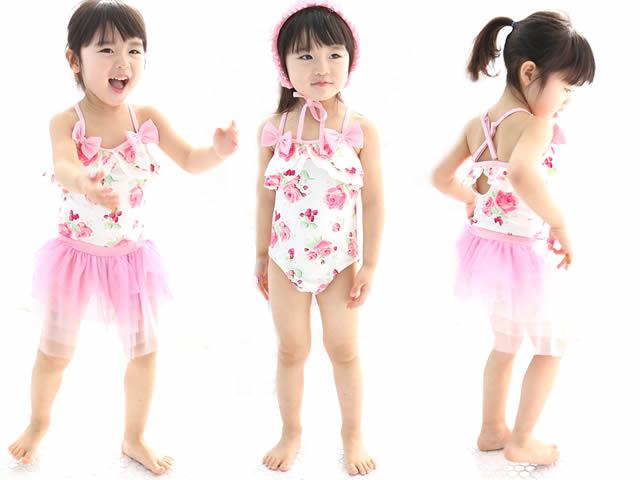 【送料無料】ピンクのローズ柄が可愛いワンピース水着スカート帽子付き【90?100?110?120cm】ピンクフリル水着スイムウエア子供みずぎキッズ赤ちゃん