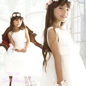 アウトレット子供ドレスキッズロングドレスjewel幅広ウエストの花飾付きスカートは贅沢5枚仕立ボリュームゴージャスチュチュパニエこどもドレス【90・100・110・120・130・140cm】結婚式子供ロングドレス