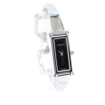 【中古】GUCCI グッチ バングルウォッチ 腕時計 レディース クオーツ ブラック文字盤 シルバー ブラック