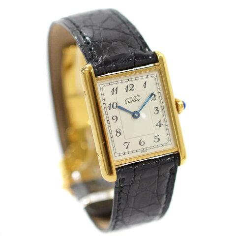 【中古】CARTIER カルティエ マストタンク ヴェルメイユ 腕時計 レディース クオーツ アラビアン シルバー文字盤 ゴールド ブラック