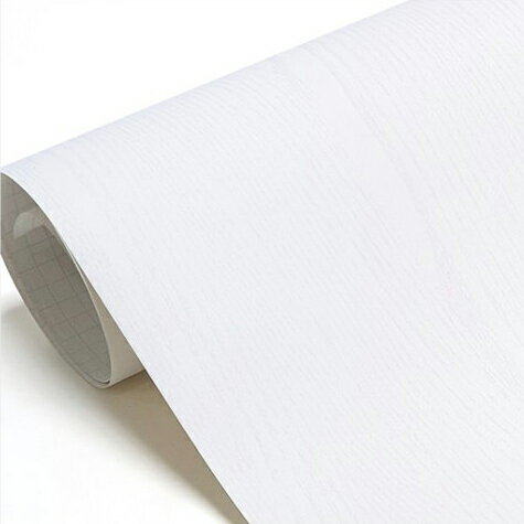 壁紙シール DIY 1m シール式 はがせる 木目 木目調 のりつき ホワイト (壁紙 貼り替え、補修が自分で簡単に、壁紙 の上から貼る壁紙) おしゃれ 防水 はがせる壁紙 剥せる壁紙 のり付き