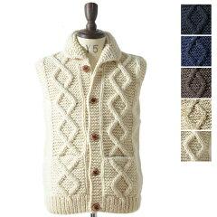 SALE 50%OFF Canadian Sweater カナディアン セーター ベスト 09CN35 ニットベスト ニット カウチン 総柄 アランボタン (メンズ)
