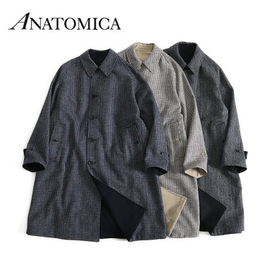 ANATOMICA アナトミカ リバーシブル シングルラグランコート2 チェック オーバーコート ヘリンボーン ツイード (メンズ レディース)