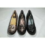 送料無料ゴールデンフット婦人靴6026フラワーコサージュカジュアルシューズ