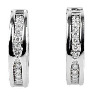 불가리 BVLGARI PZ 26P 다이아몬드 귀걸이 K18WG 15.1g 후프 귀걸이 [중고]