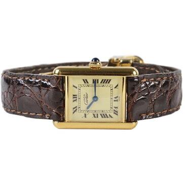 カルティエ Cartier マスト タンク SM ヴェルメイユ Ref.W1003154 SV925 ローマン レザーベルト Dバックル クオーツ式 腕時計 レディース 6か月動作保証付【中古】