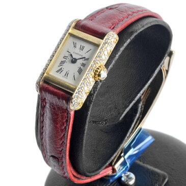 カルティエ Cartier ミニ タンク ダイヤモンド ベゼル サイド クオーツ式 腕時計 Dバックル レザーベルト ローマン 新品仕上げ済 K18YG レディース 6か月動作保証付 代引きでのカード払い不可 【中古】