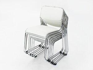 ■送料無料■新品■横連結横連結可能左右連結左右連結可能連結連結可能横連結部品付ミーティングチェア会議イス会議椅子スタッキングチェアパイプチェア6脚セット■ホワイト