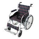 送料無料 車椅子 アルミ合金製 グリーンチェック 約11kg TAISコード取得済 軽量 折り畳み 自走介助兼用 介助ブレーキ付き 携帯バッグ付き ノーパンクタ