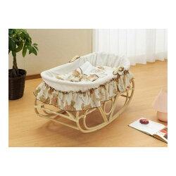ゆりかごベビーベッド籐ヨーランベビーベッド布団セット付赤ちゃんベッド