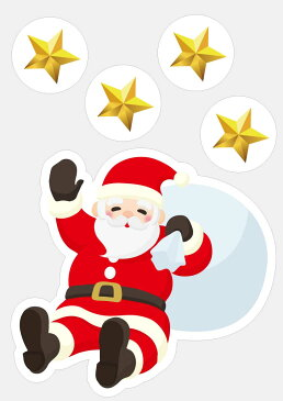 クリスマス 装飾 ウインドウステッカー サンタ 貼りやすくはがしやすい自己吸着タイプのステッカー 42×29.7cm(A3サイズ) 店舗入り口・窓用装飾