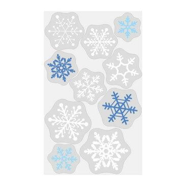 クリスマス 装飾 ウインドウステッカー 雪の結晶 貼りやすくはがしやすい自己吸着タイプのステッカー 100cm×60cm 大きいサイズ 店舗入り口・窓用装飾