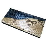 パイソン 財布 蛇革財布 ワニ型押し&パイソン革のコンビ ベガス長財布 ブルー