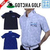 【新作】GOTCHAGOLFガッチャゴルフ182GG12003メンズ半袖ポロシャツ千鳥ボタニカル柄