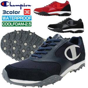 チャンピオン ゴルフシューズ メンズ レディース ユニセックス 幅広 3E スパイクレス 防水 Champion GL007
