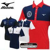 ミズノ ゴルフ 切り返し半袖ポロシャツ 珍しい「MGロゴ」を刺繍で表現 ダイナモーションフィットで優れた伸縮性 メンズ ゴルフウェア QUICKDRYPLUS DYNAMOTIONFIT mizuno golf wear 52JA6064