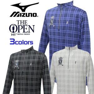 ミズノ ゴルフ メンズ 長袖 ハーフジップ シャツ チェック柄 The Open 高級感ある刺繍ワッペン MIZUNO 52JA4640