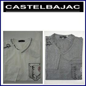 CASTELBAJACカステルバジャックLY/綿天竺変わりV衿プリント入長袖Tシャツ21270-135