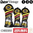 【送料無料】【即納】3個セット ギアット GUIOTE Vintage CHEERS! PUレザー ウッドヘッドカバー (#1・#3・#5) 刺繍 250 【ゴルフ】
