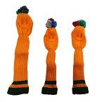 【即納】オレンジスマイル ポンポン ウッドヘッドカバー 3個セット (DW用x1/FW用x2) 268 【ゴルフ】