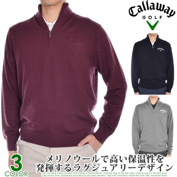 ( スペシャル感謝セール )キャロウェイCallawayゴルフウェアメンズおしゃれ秋冬ウェア長袖メンズウェア1/4ジップメリノ長