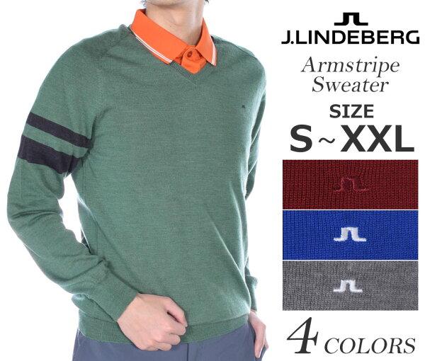 (在庫処分)ジェイリンドバーグ長袖メンズゴルフウェアアームストライプ長袖セーター大きいサイズUSA直輸入あす楽対応