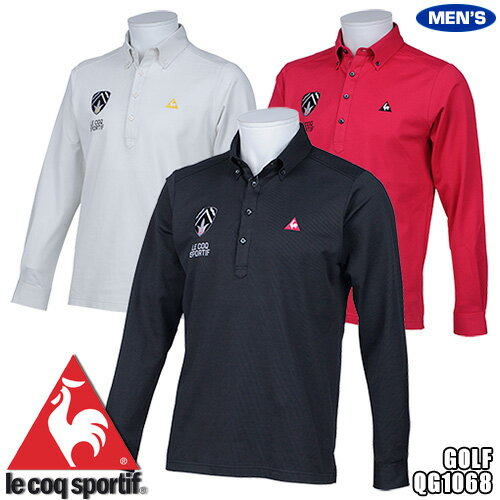 055516d423b2d ルコック ゴルフ メンズ 長袖 ポロシャツ ボタンダウン ワッペンデザイン QG1068