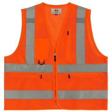 オレンジ 安全 作業 ベスト JANコード4589440800518 配送料無料 多機能 散歩 釣り 反射 交通 道路