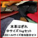 本革はぎれセット1kg《中サイズ/B5~A4程度》【レザークラフト ハギレ 端革 革材料】