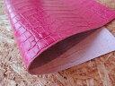 【メール便可】クロコダイル型押し/ピンク【A4サイズ】【レザークラフト 裁断切り売り 革材料】