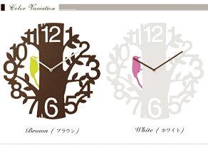 【送料無料】キツツキの振り子が時を刻む壁掛け時計【PICUS】ホワイトブラウン【振り子時計/振子時計/壁掛時計/掛け時計/デザイン/モダン/キュート/フェミニン/キツツキ/インテリア/振り子/カントリー】